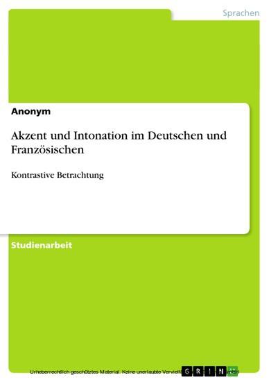Akzent und Intonation im Deutschen und Französischen - Blick ins Buch