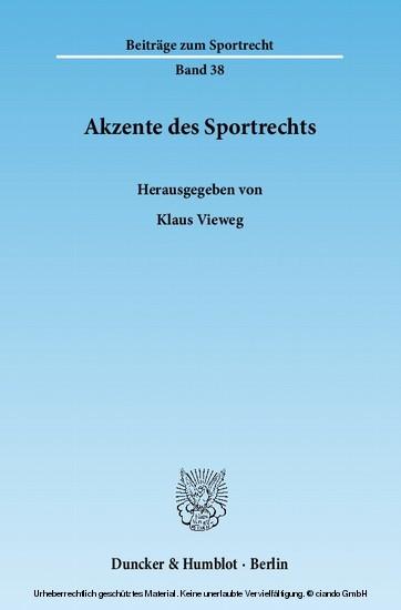 Akzente des Sportrechts. - Blick ins Buch