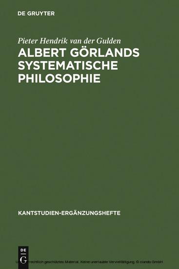 Albert Görlands systematische Philosophie - Blick ins Buch