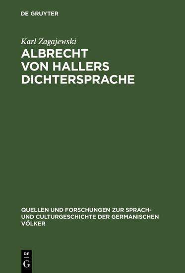 Albrecht von Hallers Dichtersprache - Blick ins Buch
