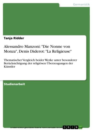 Alessandro Manzoni: 'Die Nonne von Monza', Denis Diderot: 'La Religieuse' - Blick ins Buch