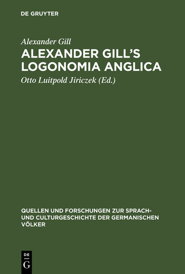 Alexander Gill's Logonomia Anglica - Blick ins Buch