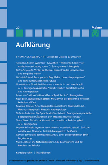 Alexander Gottlieb Baumgarten - Blick ins Buch