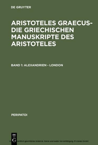 Alexandrien - London - Blick ins Buch