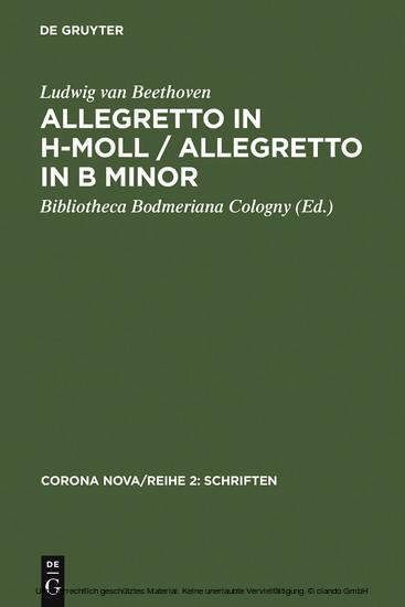 Allegretto in h-Moll / Allegretto in B minor / Ludwig van Beethoven. Allegretto in B minor - Blick ins Buch