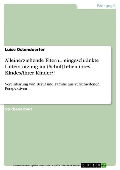 Alleinerziehende Eltern= eingeschränkte Unterstützung im (Schul)Leben ihres Kindes/ihrer Kinder?! - Blick ins Buch