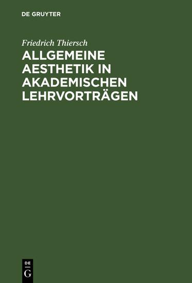 Allgemeine Aesthetik in akademischen Lehrvorträgen - Blick ins Buch