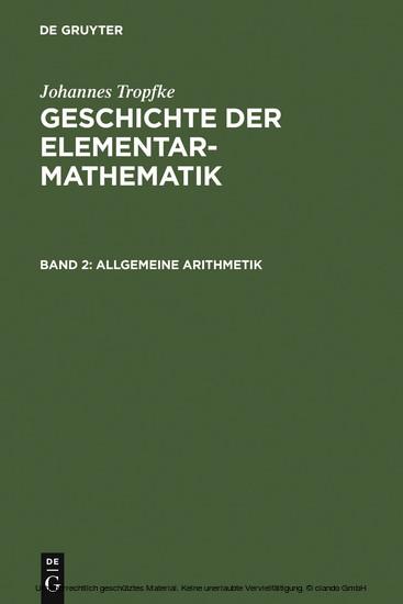 Allgemeine Arithmetik - Blick ins Buch