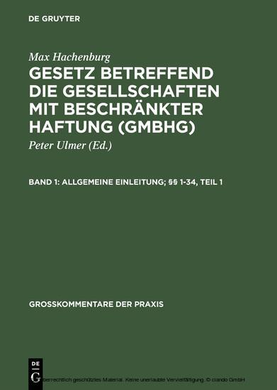 Allgemeine Einleitung; §§ 1-34 - Blick ins Buch