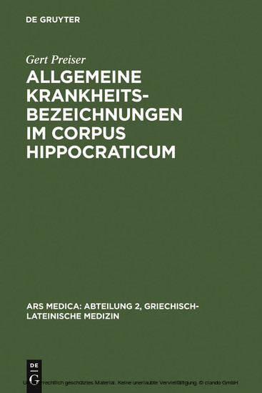 Allgemeine Krankheitsbezeichnungen im Corpus Hippocraticum - Blick ins Buch