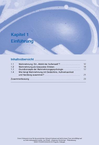 Allgemeine Psychologie – Wahrnehmung - Blick ins Buch