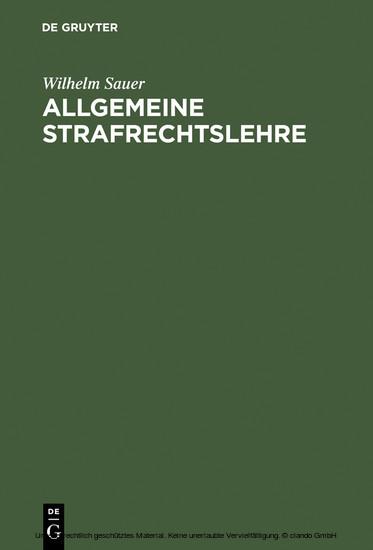 Allgemeine Strafrechtslehre - Blick ins Buch