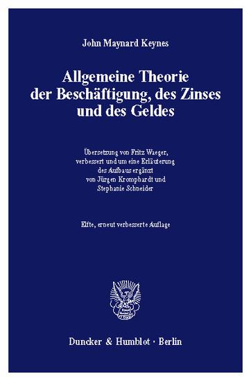 Allgemeine Theorie der Beschäftigung, des Zinses und des Geldes. - Blick ins Buch