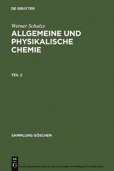 Allgemeine und physikalische Chemie. Teil 2 - Blick ins Buch