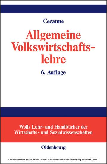 Allgemeine Volkswirtschaftslehre - Blick ins Buch