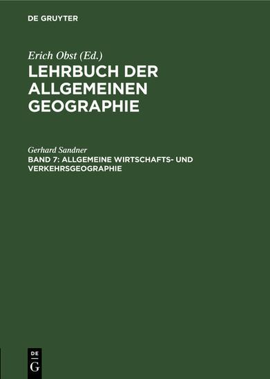 Allgemeine Wirtschafts- und Verkehrsgeographie - Blick ins Buch