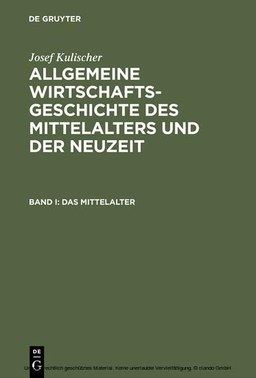 Allgemeine Wirtschaftsgeschichte des Mittelalters und der Neuzeit - Blick ins Buch