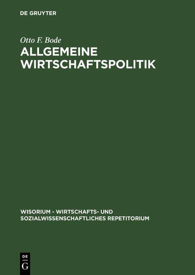 Allgemeine Wirtschaftspolitik - Blick ins Buch