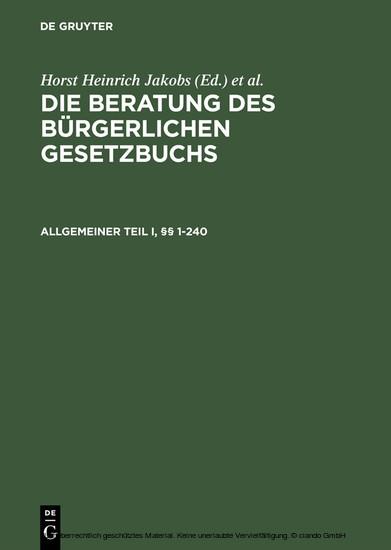 Allgemeiner Teil I und II, §§ 1-240 - Blick ins Buch