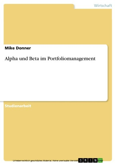 Alpha und Beta im Portfoliomanagement - Blick ins Buch