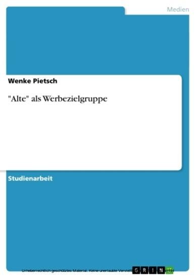 'Alte' als Werbezielgruppe - Blick ins Buch