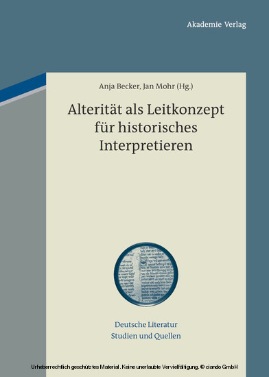 Alterität als Leitkonzept für historisches Interpretieren - Blick ins Buch