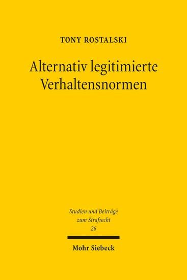 Alternativ legitimierte Verhaltensnormen - Blick ins Buch
