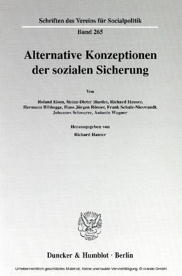 Alternative Konzeptionen der sozialen Sicherung. - Blick ins Buch