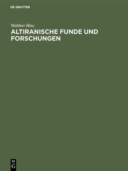 Altiranische Funde und Forschungen - Blick ins Buch