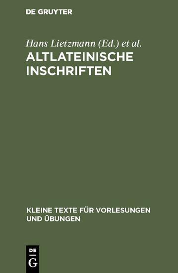Altlateinische Inschriften - Blick ins Buch