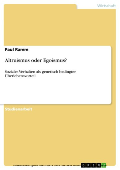 Altruismus oder Egoismus? - Blick ins Buch