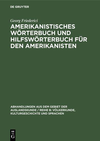 Amerikanistisches Wörterbuch und Hilfswörterbuch für den Amerikanisten - Blick ins Buch
