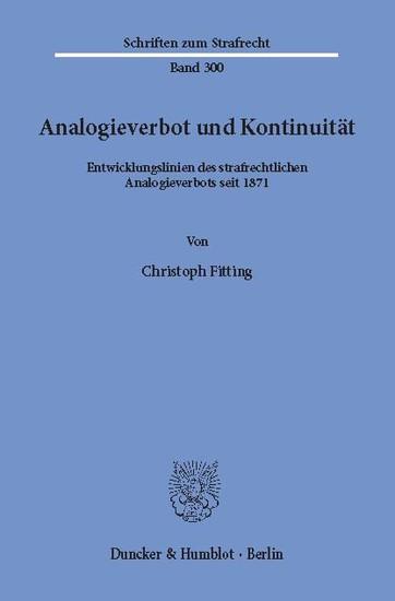 Analogieverbot und Kontinuität. - Blick ins Buch