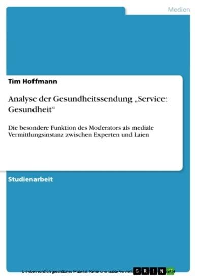 Analyse der Gesundheitssendung 'Service: Gesundheit' - Blick ins Buch