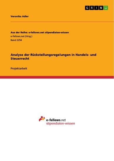 Analyse der Rückstellungsregelungen in Handels- und Steuerrecht - Blick ins Buch