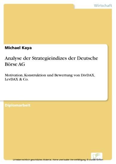Analyse der Strategieindizes der Deutsche Börse AG - Blick ins Buch