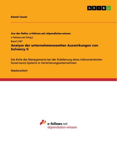 Analyse der unternehmensweiten Auswirkungen von Solvency II - Blick ins Buch