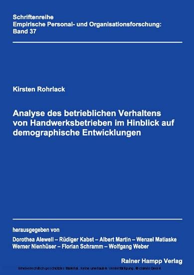 Analyse des betrieblichen Verhaltens von Handwerksbetrieben im Hinblick auf demographische Entwicklungen - Blick ins Buch