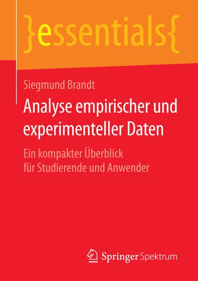 Analyse empirischer und experimenteller Daten - Blick ins Buch