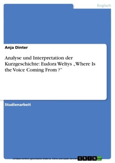 Analyse und Interpretation der Kurzgeschichte: Eudora Weltys 'Where Is the Voice Coming From ?' - Blick ins Buch