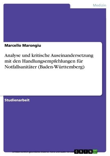 Analyse und kritische Auseinandersetzung mit den Handlungsempfehlungen für Notfallsanitäter (Baden-Württemberg) - Blick ins Buch