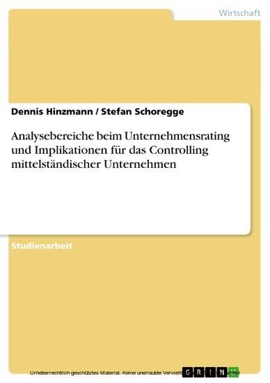 Analysebereiche beim Unternehmensrating und Implikationen für das Controlling mittelständischer Unternehmen - Blick ins Buch