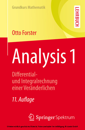 Analysis 1 - Blick ins Buch