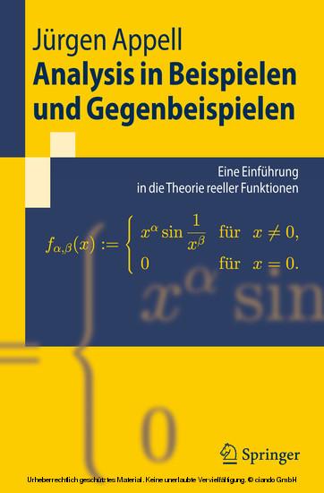 Analysis in Beispielen und Gegenbeispielen - Blick ins Buch