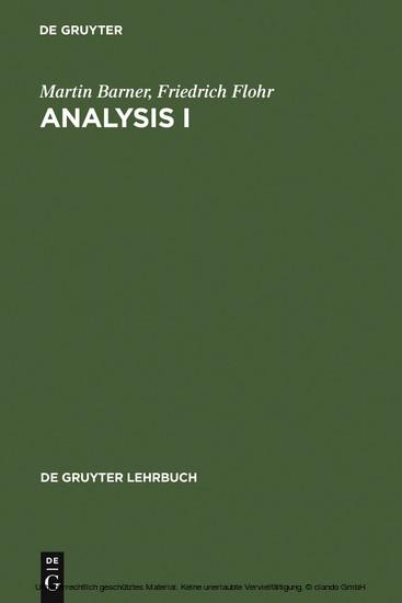 Analysis I - Blick ins Buch