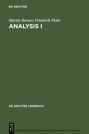 Analysis I - Blick ins Buch