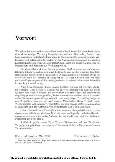 Analysis II - Blick ins Buch