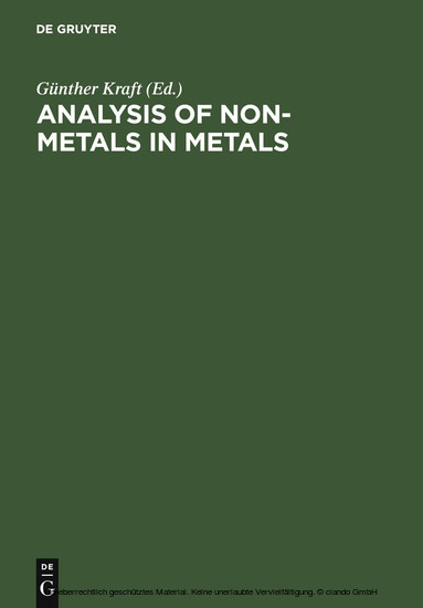 Analysis of Non-Metals in Metals - Blick ins Buch