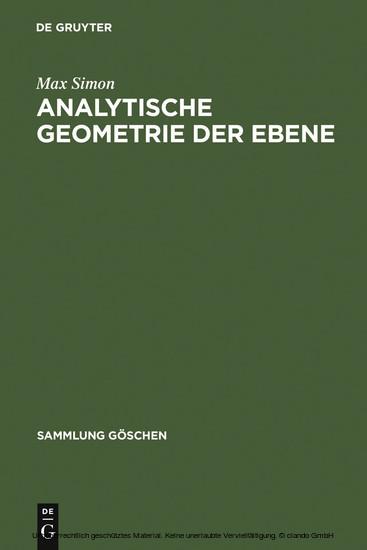 Analytische Geometrie der Ebene - Blick ins Buch