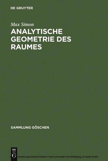 Analytische Geometrie des Raumes - Blick ins Buch
